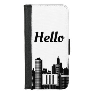 Coque Portefeuille Pour iPhone 8/7 Horizon urbain noir et blanc moderne de ville
