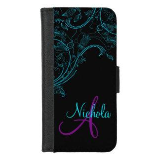 Coque Portefeuille Pour iPhone 8/7 iPhone5 bleu et pourpre d'imaginaire floral de