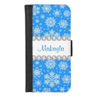 Coque Portefeuille Pour iPhone 8/7 iPhone bleu de flocon de neige de Noël 8/7 caisse