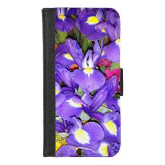 Coque Portefeuille Pour iPhone 8/7 Iris bleus et fleurs rouges de Gerbera