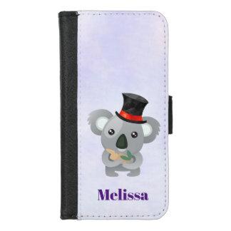 Coque Portefeuille Pour iPhone 8/7 Koala mignon dans un casquette supérieur noir