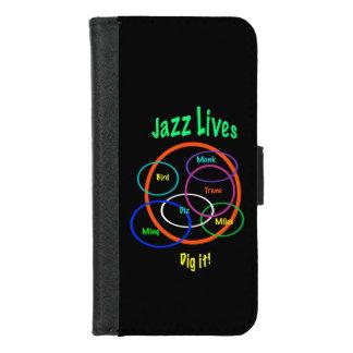 Coque Portefeuille Pour iPhone 8/7 La musique de jazz vit iPhone noir 8/7 caisse de