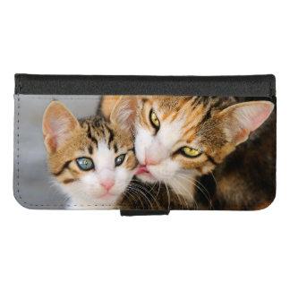 Coque Portefeuille Pour iPhone 8/7 Le chat de mère aime la photo animale d'animal