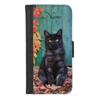 Coque Portefeuille Pour iPhone 8/7 Le rouge mignon de chaton de chat noir laisse la