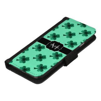 Coque Portefeuille Pour iPhone 8/7 Le vert vert miroite monogramme de trèfle de