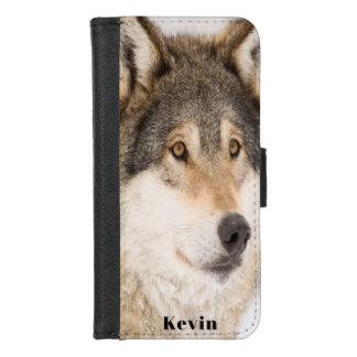 Coque Portefeuille Pour iPhone 8/7 Le visage masculin de loup de Brown ajoutent un