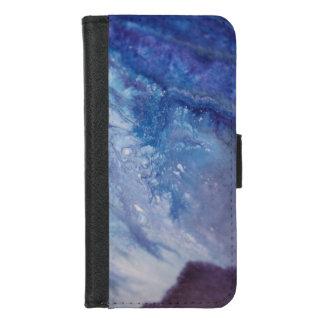 Coque Portefeuille Pour iPhone 8/7 L'eau blanche bleue triste de vague de peinture