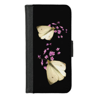 Coque Portefeuille Pour iPhone 8/7 Les papillons sur le rose fleurit l'iPhone 8/7
