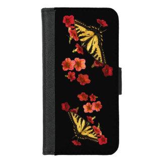 Coque Portefeuille Pour iPhone 8/7 Les papillons sur le rouge fleurit l'iPhone 8/7