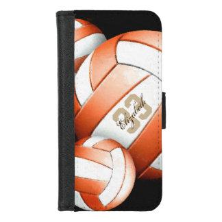 Coque Portefeuille Pour iPhone 8/7 Les volleyballs blancs oranges nommés de la femme