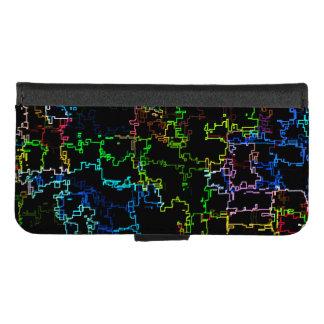 Coque Portefeuille Pour iPhone 8/7 Ligne abstraite multicolore motif de Digitals