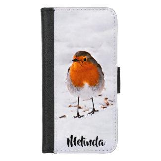 Coque Portefeuille Pour iPhone 8/7 L'oiseau mignon de Robin dans la neige ajoutent