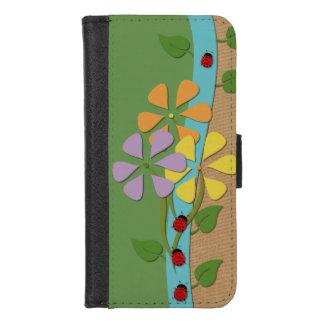 Coque Portefeuille Pour iPhone 8/7 Madame Bugs et toile de jute de fleurs