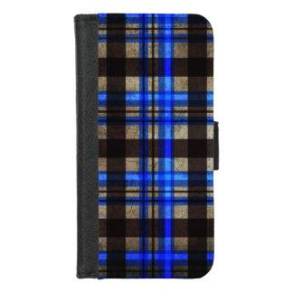 Coque Portefeuille Pour iPhone 8/7 Moderne urbain de bleu de plaid, noir et gris