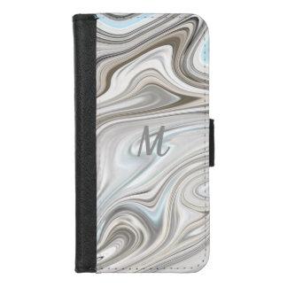Coque Portefeuille Pour iPhone 8/7 Monogramme de marbre blanc repéré