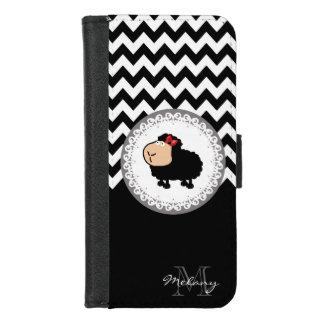 Coque Portefeuille Pour iPhone 8/7 monogramme drôle mignon de moutons de chevron noir