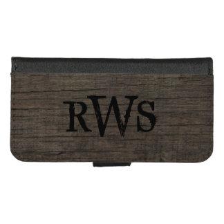 Coque Portefeuille Pour iPhone 8/7 Monogramme en bois occidental du pays rustique des