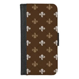 Coque Portefeuille Pour iPhone 8/7 Motif classique de Fleur-De-lis Brown de mode