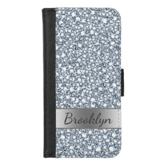 Coque Portefeuille Pour iPhone 8/7 Motif gris blanc moderne de diamants
