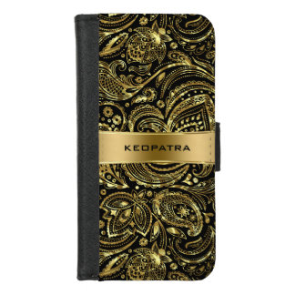 Coque Portefeuille Pour iPhone 8/7 Motif vintage de Paisley d'or brillant élégant