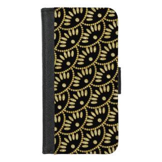 Coque Portefeuille Pour iPhone 8/7 Noir de dames et festons de Bling Seigaiha d'or