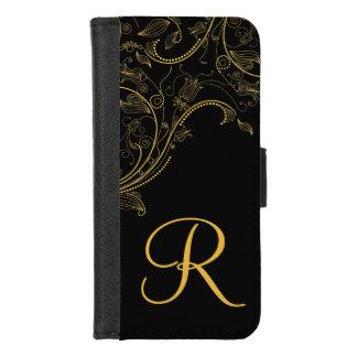 Coque Portefeuille Pour iPhone 8/7 Noir d'imaginaire et iPhone floraux de monogramme