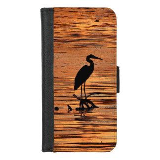 Coque Portefeuille Pour iPhone 8/7 Oiseau de héron à l'iPhone de coucher du soleil