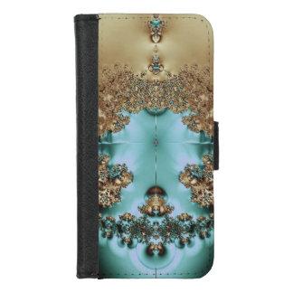 Coque Portefeuille Pour iPhone 8/7 Or et Aqua royaux élégants