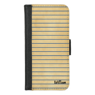Coque Portefeuille Pour iPhone 8/7 Page et lignes bleues rétro moderne de vieux livre