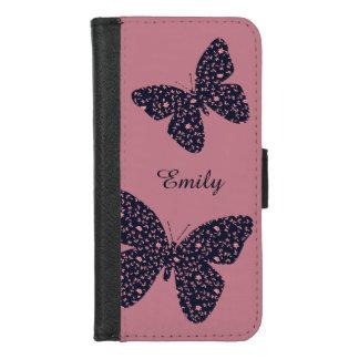 Coque Portefeuille Pour iPhone 8/7 Papillon floral de rose et violet