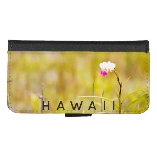 Coque Portefeuille Pour iPhone 8/7 Parc national de volcans tropicaux d'orchidée