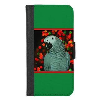 Coque Portefeuille Pour iPhone 8/7 Peinture de perroquet de gris africain avec