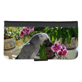 Coque Portefeuille Pour iPhone 8/7 Perroquet de gris africain avec des orchidées