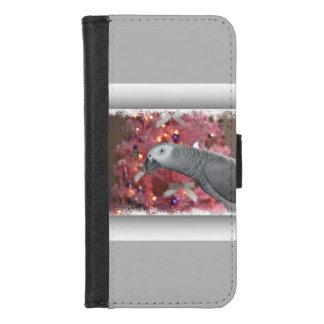 Coque Portefeuille Pour iPhone 8/7 Perroquet de gris africain et arbre de Noël rose