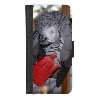 Coque Portefeuille Pour iPhone 8/7 Perroquet flexible de gris africain du Congo avec