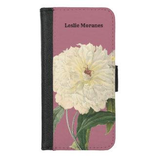 Coque Portefeuille Pour iPhone 8/7 Pivoine blanche botanique élégante personnalisée