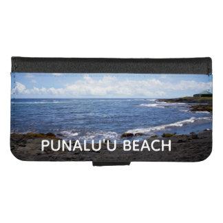 Coque Portefeuille Pour iPhone 8/7 Plage noire Hawaï de sable de Punalu'u