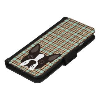 Coque Portefeuille Pour iPhone 8/7 Plaid de tartan de chiot de Boston Terrier