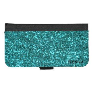 Coque Portefeuille Pour iPhone 8/7 Plus Aqua Sequines