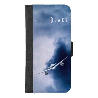 Coque Portefeuille Pour iPhone 8/7 Plus Avion à réaction bleu volant haut dans le folio de