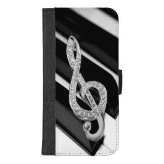 Coque Portefeuille Pour iPhone 8/7 Plus Barre de piano de musique avec le gclef