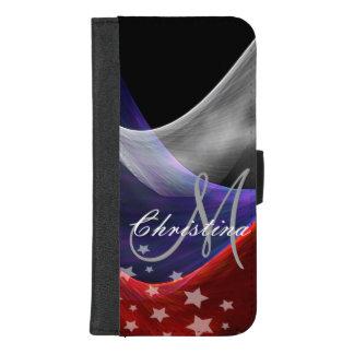 Coque Portefeuille Pour iPhone 8/7 Plus Blanc bleu rouge patriotique avec les étoiles et