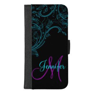 Coque Portefeuille Pour iPhone 8/7 Plus Bleu d'imaginaire de minuit et pourpre floraux