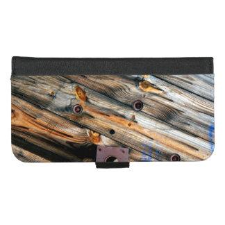 Coque Portefeuille Pour iPhone 8/7 Plus Bois rustique industriel