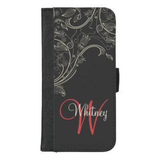 Coque Portefeuille Pour iPhone 8/7 Plus Caisse grise de téléphone d'abrégé sur floral