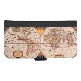 Coque Portefeuille Pour iPhone 8/7 Plus Carte vintage du monde Circa 1600