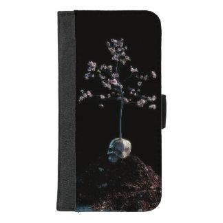 Coque Portefeuille Pour iPhone 8/7 Plus Cas de téléphone de fleur de crâne