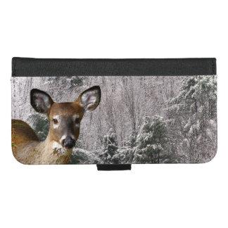 Coque Portefeuille Pour iPhone 8/7 Plus Cerfs communs dans l'iPhone de collines d'hiver