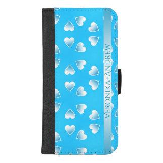 Coque Portefeuille Pour iPhone 8/7 Plus Coeurs bleus assez petits. Ajoutez votre propre