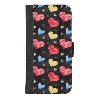 Coque Portefeuille Pour iPhone 8/7 Plus Conception colorée de coeurs